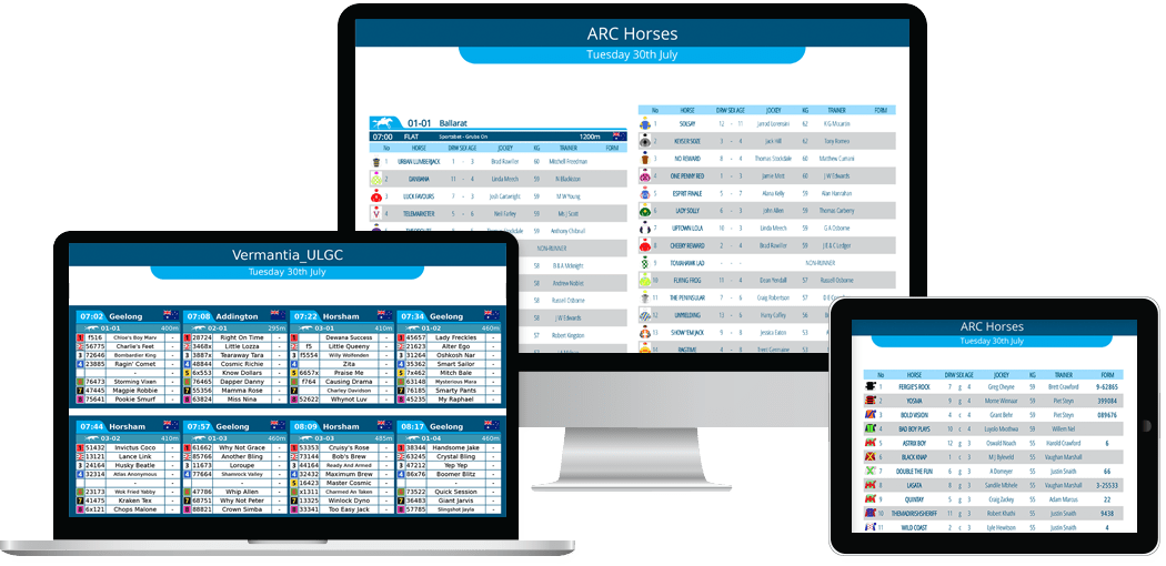 Detailed Daily Racecards for Retail and Online Operators